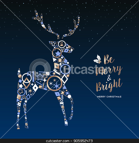 Christmas deer made of copper icons greeting card stock vector clipart, Merry Christmas greeting card illustration. Xmas reindeer made of elegant copper icons on night sky background. EPS10 vector. by Cienpies Design