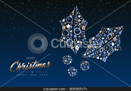 Christmas card of elegant copper icon holly leaf stock vector clipart, Merry Christmas and Happy New Year greeting card. Elegant holly leaf made of outline icon luxury decoration, copper color holiday illustration. EPS10 vector. by Cienpies Design