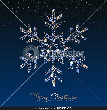 Christmas and New Year luxury snowflake card stock vector clipart, Merry Christmas and New Year luxury greeting card illustration. Winter snowflake ornament made of elegant copper icons on night sky background. EPS10 vector. by Cienpies Design
