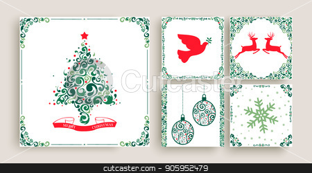 Vintage Christmas decoration greeting card set stock vector clipart, Merry christmas set of vintage holiday greeting card templates. Retro style collection in festive colors with xmas pine tree, reindeer animals, ball ornament and text quotes. EPS10 vector.  by Cienpies Design