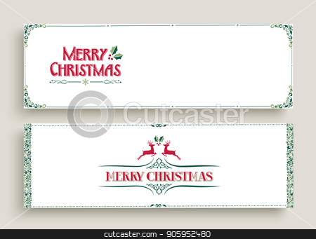 Merry Christmas vintage web banner art set stock vector clipart, Merry Christmas web banner set in vintage ornamental style. Retro holiday decoration with special celebration text quotes. EPS10 vector.  by Cienpies Design