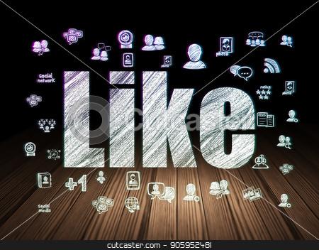 Social network concept: Like in grunge dark room stock photo, Social network concept: Glowing text Like,  Hand Drawn Social Network Icons in grunge dark room with Wooden Floor, black background by mkabakov