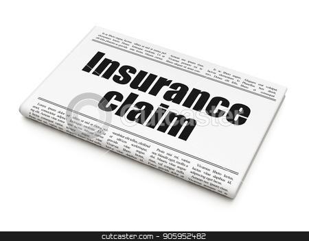 Insurance concept: newspaper headline Insurance Claim stock photo, Insurance concept: newspaper headline Insurance Claim on White background, 3D rendering by mkabakov