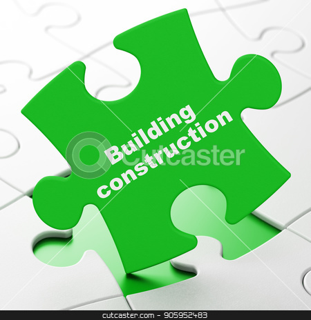 Constructing concept: Building Construction on puzzle background stock photo, Constructing concept: Building Construction on Green puzzle pieces background, 3D rendering by mkabakov