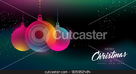 Christmas and New Year glow decoration card stock vector clipart, Merry Christmas and Happy New Year greeting card of colorful bauble ornament, modern neon color gradients. Holiday night illustration in futuristic glow style. EPS10 vector. by Cienpies Design