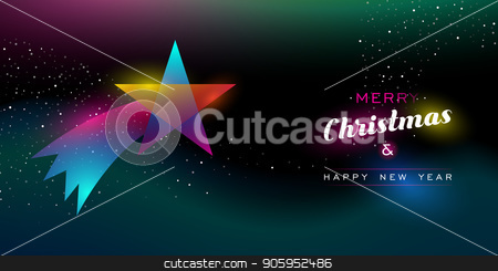 Christmas and New Year glow shooting star card stock vector clipart, Merry Christmas and Happy New Year greeting card of colorful shooting star ornament, modern neon color gradients. Holiday night illustration in futuristic glow style. EPS10 vector. by Cienpies Design