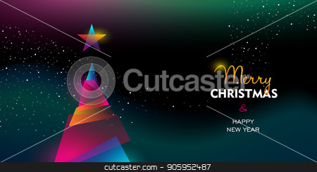 Christmas and New Year glow gradient tree card stock vector clipart, Merry Christmas and Happy New Year greeting card of colorful xmas pine tree, modern neon color gradients. Holiday night illustration in futuristic glow style. EPS10 vector. by Cienpies Design