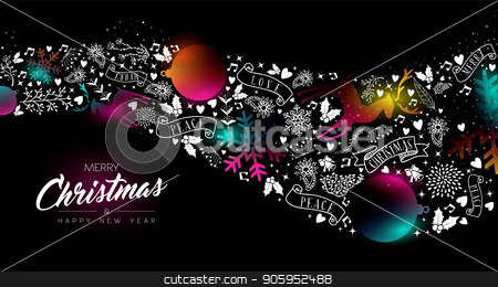 Christmas and New Year glow gradient decoration stock vector clipart, Merry Christmas and Happy New Year greeting card of colorful ornament decoration icons, modern glow effect gradients. Holiday night illustration in futuristic neon style. EPS10 vector. by Cienpies Design