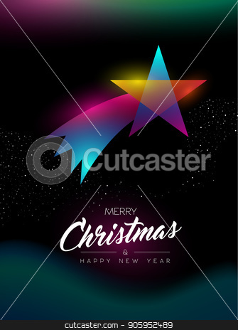 Merry Christmas glow gradient star greeting card stock vector clipart, Merry Christmas and Happy New Year greeting card of colorful shooting star ornament, modern glow effect gradients. Holiday night illustration in futuristic neon style. EPS10 vector. by Cienpies Design