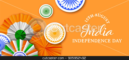 India Independence Day tricolor badge web banner stock vector clipart, India Independence Day web banner illustration. Traditional tricolor badges and indian flag color decoration with typography quote. EPS10 vector. by Cienpies Design