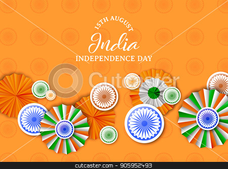 India Independence Day badge decoration card stock vector clipart, India Independence Day greeting card illustration. Traditional tricolor badges and indian flag color decoration with typography quote. EPS10 vector. by Cienpies Design