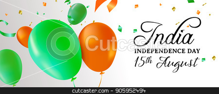 India Independence Day party balloon web banner stock vector clipart, India Independence Day web banner illustration. Flag color balloons and party confetti for special 15th August indian celebration. EPS10 vector. by Cienpies Design