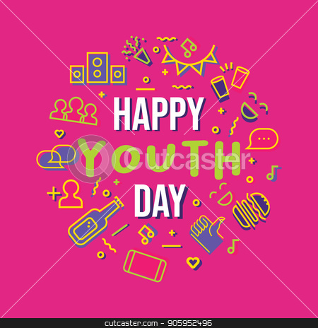 Happy Youth Day party icon set greeting card stock vector clipart, Happy Youth Day typography quote card with icon set illustration. Fun party symbols in colorful outline style. Includes social network, food, drink and music. EPS10 vector. by Cienpies Design