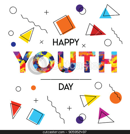 Happy Youth Day abstract retro background card stock vector clipart, Happy Youth Day greeting card illustration of abstract retro 90s style background decoration with special celebration text quote. EPS10 vector. by Cienpies Design