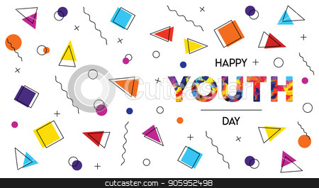 Happy Youth Day abstract retro background banner stock vector clipart, Happy Youth Day web banner illustration of abstract retro 90s style background decoration with special celebration text quote. EPS10 vector. by Cienpies Design