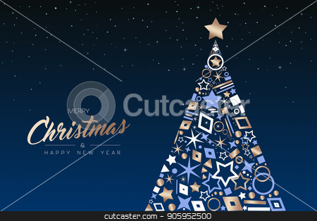 Christmas and New Year tree made of copper icons stock vector clipart, Merry Christmas and Happy New Year greeting card. Elegant xmas pine tree made of outline icon luxury decoration, copper color holiday illustration. EPS10 vector. by Cienpies Design