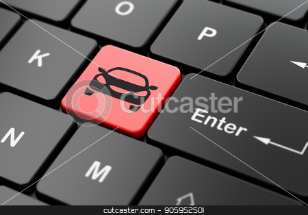 Travel concept: Car on computer keyboard background stock photo, Travel concept: computer keyboard with Car icon on enter button background, 3D rendering by mkabakov