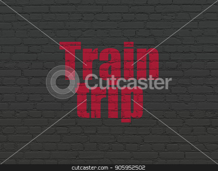 Vacation concept: Train Trip on wall background stock photo, Vacation concept: Painted red text Train Trip on Black Brick wall background by mkabakov