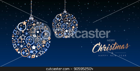 Christmas and New Year copper ball web banner stock vector clipart, Merry Christmas and New Year elegant web banner illustration. Xmas ball ornament made of luxury copper icons on night sky background. EPS10 vector. by Cienpies Design