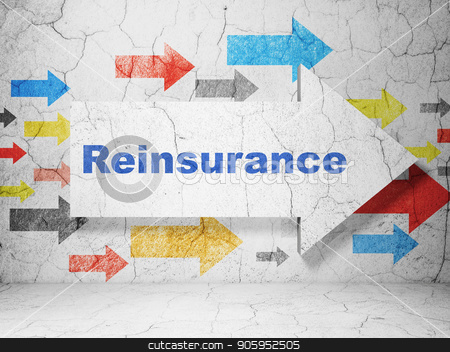 Insurance concept: arrow with Reinsurance on grunge wall background stock photo, Insurance concept:  arrow with Reinsurance on grunge textured concrete wall background, 3D rendering by mkabakov