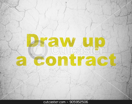 Law concept: Draw up A contract on wall background stock photo, Law concept: Yellow Draw up A contract on textured concrete wall background by mkabakov