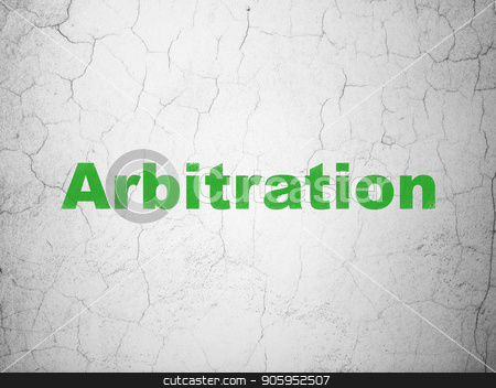 Law concept: Arbitration on wall background stock photo, Law concept: Green Arbitration on textured concrete wall background by mkabakov
