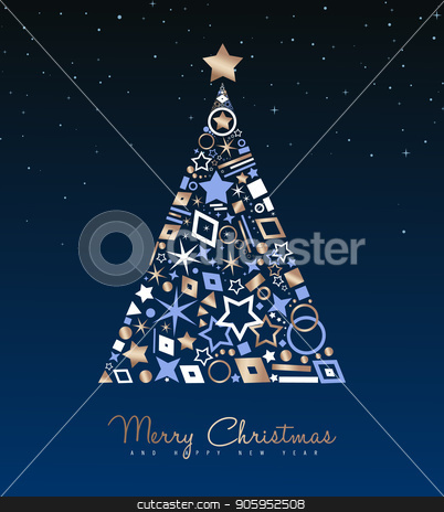 Christmas and New Year copper tree decoration card stock vector clipart, Merry Christmas and New Year luxury greeting card illustration. Xmas pine tree made of elegant copper icons on night sky background. EPS10 vector. by Cienpies Design