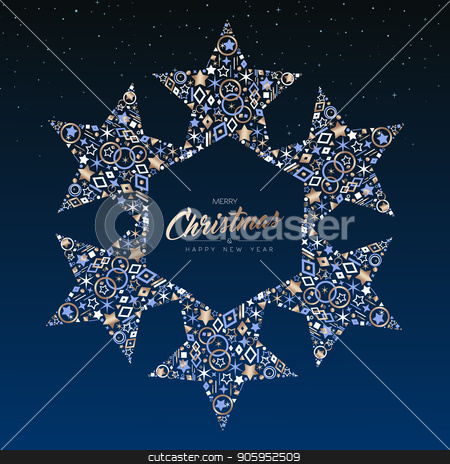 Christmas and New Year copper star decoration card stock vector clipart, Merry Christmas and New Year luxury greeting card illustration. Star ornament decoration made of elegant copper icons on night sky background. EPS10 vector. by Cienpies Design