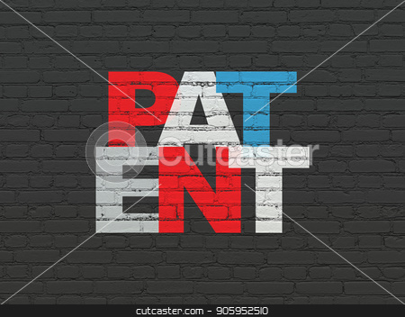 Law concept: Patent on wall background stock photo, Law concept: Painted multicolor text Patent on Black Brick wall background by mkabakov