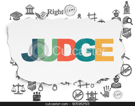 Law concept: Judge on Torn Paper background stock photo, Law concept: Painted multicolor text Judge on Torn Paper background with  Hand Drawn Law Icons by mkabakov
