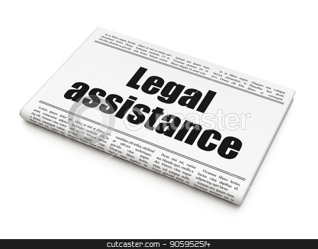 Law concept: newspaper headline Legal Assistance stock photo, Law concept: newspaper headline Legal Assistance on White background, 3D rendering by mkabakov