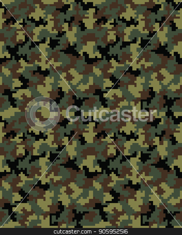 digital camouflage pattern stock vector clipart, Seamless digital fashion camouflage pattern, vector background by Matovic Ratko
