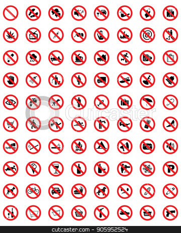 Set of prohibit icons  stock vector clipart, Set of prohibit icons , warning danger signs by Matovic Ratko