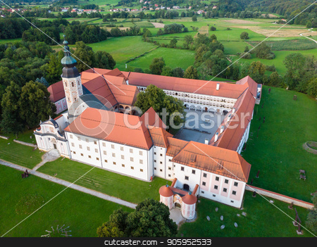 Aerial view of Cistercian monastery Kostanjevica na Krki, homely appointed as Castle Kostanjevica, Slovenia, Europe stock photo, Aerial view of Cistercian monastery Kostanjevica na Krki, homely appointed as Castle Kostanjevica, Slovenia, Europe. by kasto