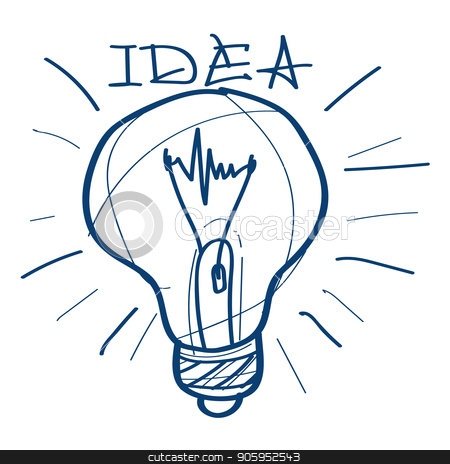 Light bulb icon. Design elements in hand drawn style stock vector clipart, Light bulb icon. Design elements in hand drawn style. by Filipp Efanov