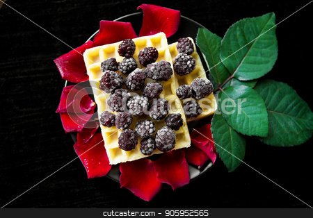 Belgian waffles with blackberries on a black background with petals of roses stock photo, Belgian waffles with blackberries on a black background with petals of roses. by Sergiy Artsaba