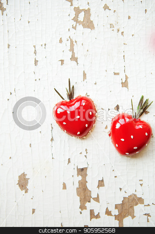 Beautiful and tasty dessert in the form of heart on an old wooden background stock photo, Beautiful and tasty dessert in the form of heart on an old wooden background. by Sergiy Artsaba