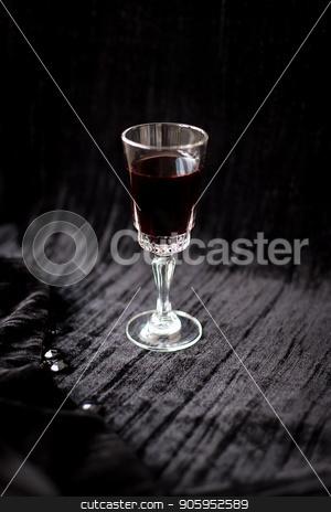 nice glass of red wine on a black background Velvet stock photo, nice glass of red wine on a black background Velvet. by Sergiy Artsaba