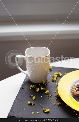 Oatmeal cookies with chocolate on bright yellow plate and cup of coffee. stock photo, Oatmeal cookies with chocolate on bright yellow plate and cup of coffee by Sergiy Artsaba