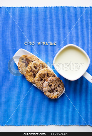 oatmeal cookies in a white plate with a cup of milk that says good morning stock photo, oatmeal cookies in a white plate with a cup of milk that says good morning. by Sergiy Artsaba