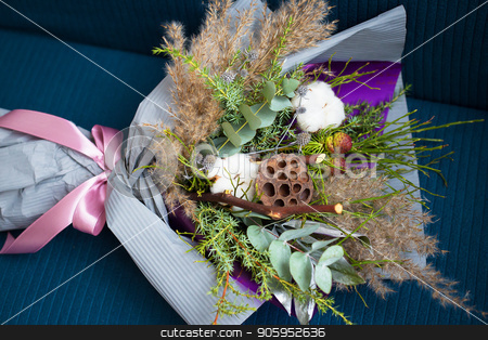 Winter beautiful bouquet of cotton. Christmas wedding bouquet stock photo, Winter beautiful bouquet of cotton. Christmas wedding bouquet. by Sergiy Artsaba