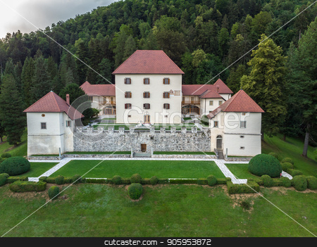Panoramic view of Strmol castle, Gorenjska region, Slovenia stock photo, Panoramic view of Strmol castle at Gorenjska region, Slovenia. by kasto