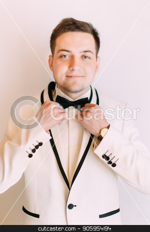 Cheerful cute groom is correcting his black bow-tie. stock photo, Cheerful cute groom is correcting his black bow-tie by Andrii Kobryn