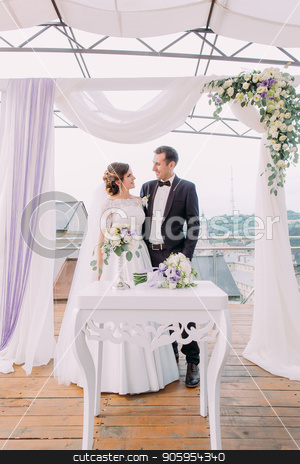 Full-length photo of the happy newlyweds standing near the wedding arch. stock photo, Full-length photo of the happy newlyweds standing near the wedding arch by Andrii Kobryn