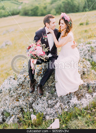 Close-up photo of the cheerful newlyweds sitting on the stone. The bride is stroking the cheek of the groom. stock photo, Close-up photo of the cheerful newlyweds sitting on the stone. The bride is stroking the cheek of the groom by Andrii Kobryn