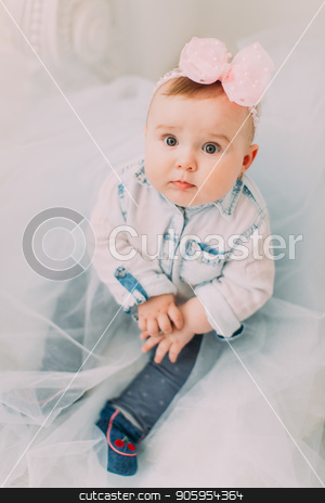 The above portrait of the little baby with the pink bow on the head sitting on the floor with the tulle. stock photo, The above portrait of the little baby with the pink bow on the head sitting on the floor with the tulle by Andrii Kobryn