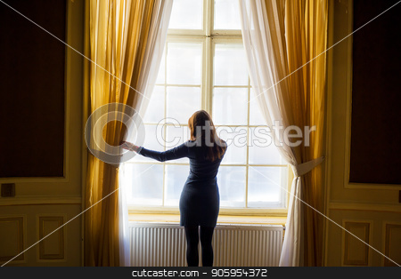 Ancient rooms in the house scientists. House of Scientists in Lviv. The girl at the window stock photo, Ancient rooms in the house scientists. House of Scientists in Lviv. The girl at the window. by Sergiy Artsaba