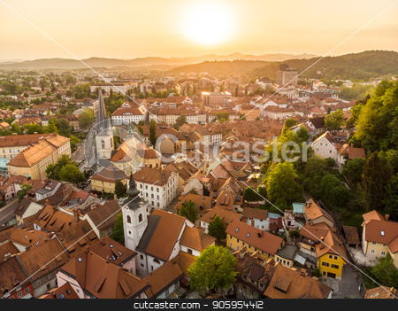 Aerial view of old medieval city center of Ljubljana, capital of Slovenia. stock photo, Aerial view of Ljubljana, capital of Slovenia. Roooftops of Ljubljanas old medieval city center seen from Ljubljanas castle at sunset. by kasto
