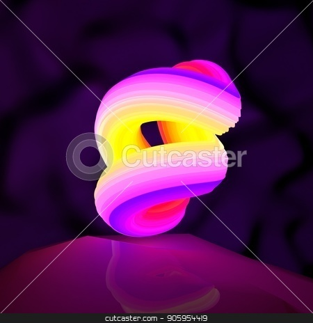 Illustration of an abstract logo neon shape rotation. 3D illustration stock photo, Illustration of an abstract logo neon shape rotation by T-flex