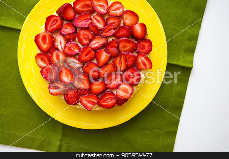 Beautiful strawberry cake is on the table, green napkin stock photo, Beautiful strawberry cake is on the table, green napkin. by Sergiy Artsaba